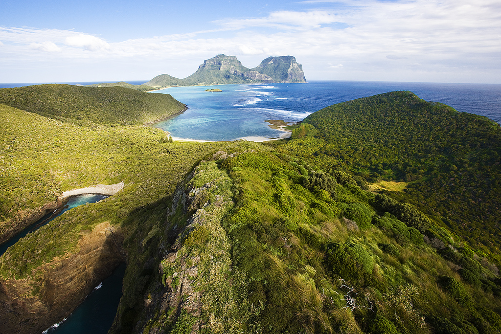 Mt Eliza/North Head looking South East towards Mt Lidgbird and Mt Gower. Lord Howe Island
