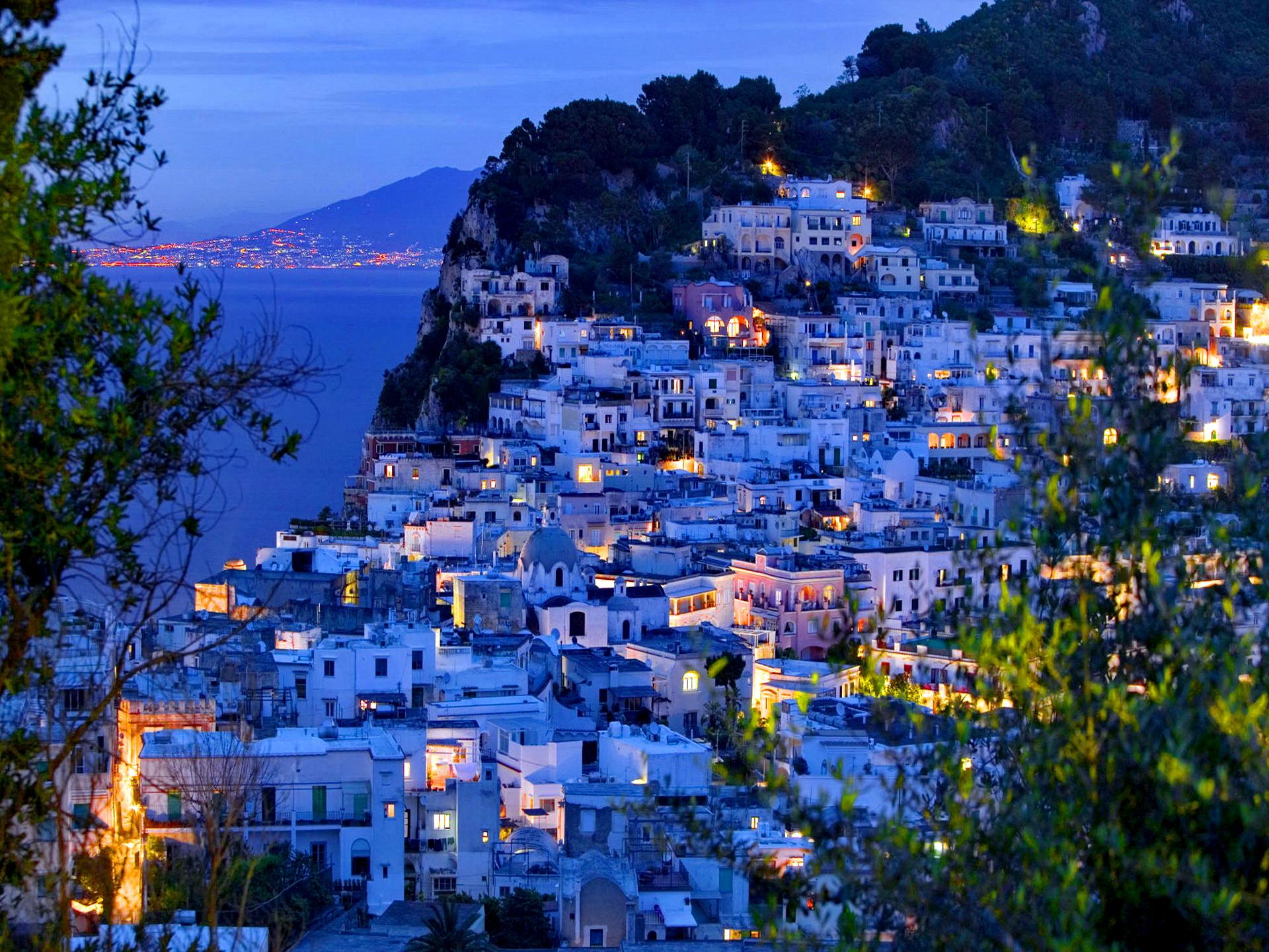 Evening View of Capri Town from via Castello. Capri. Bay of Naples. Campania. Italy.