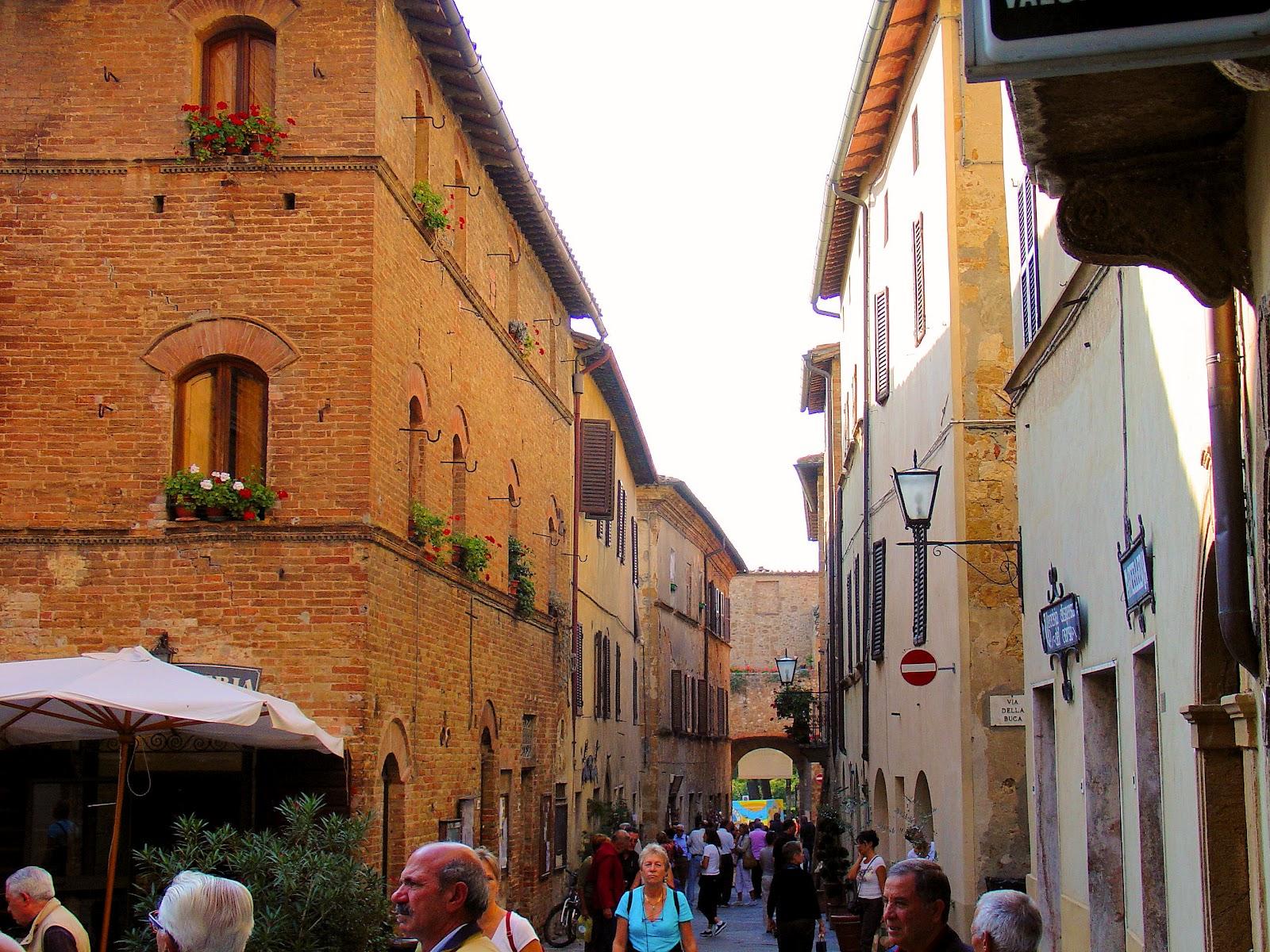 Italy Tuscany Pienza village street
