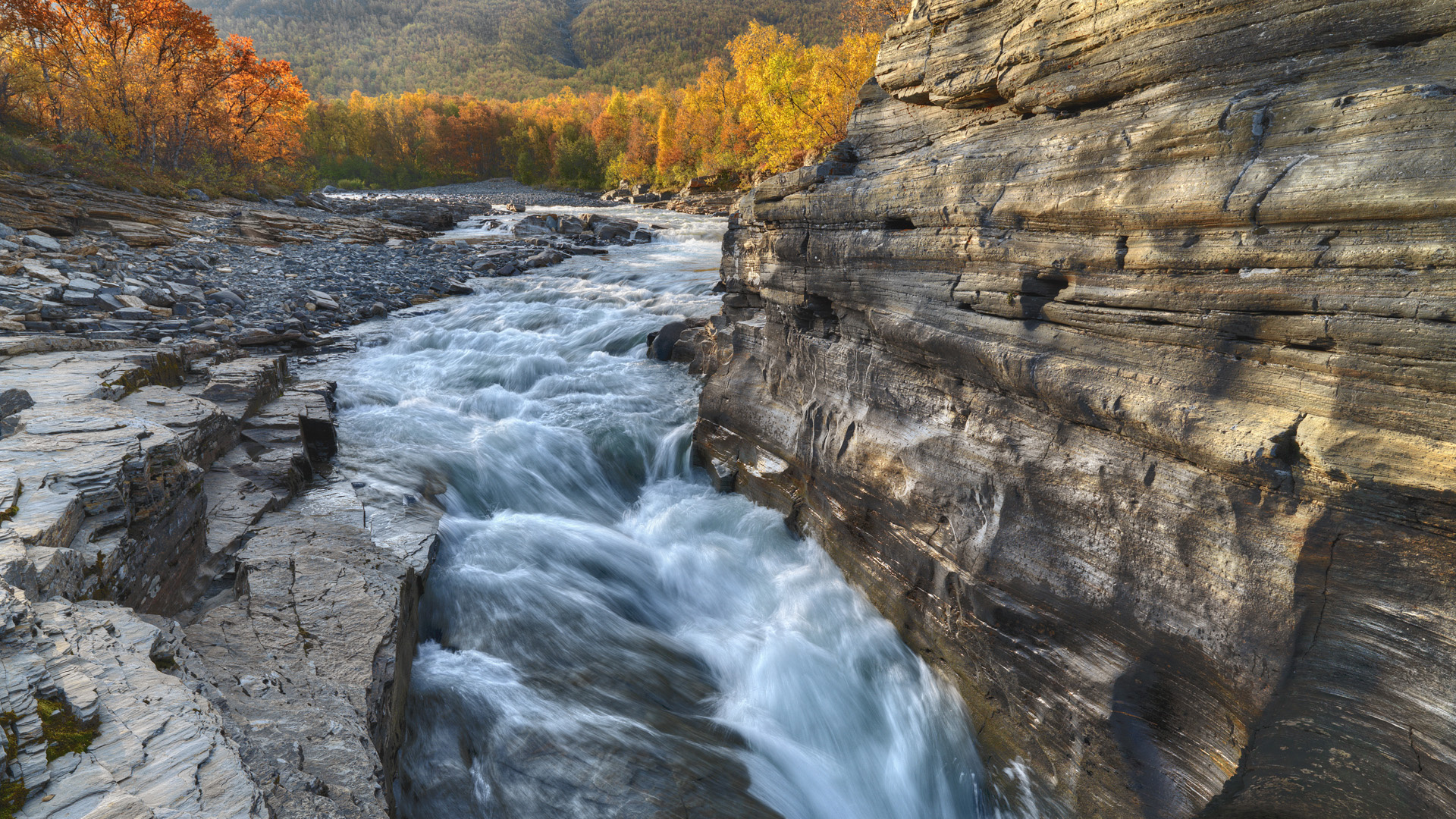 Rapid Flowing Abisko River In Sweden HD Desktop Background