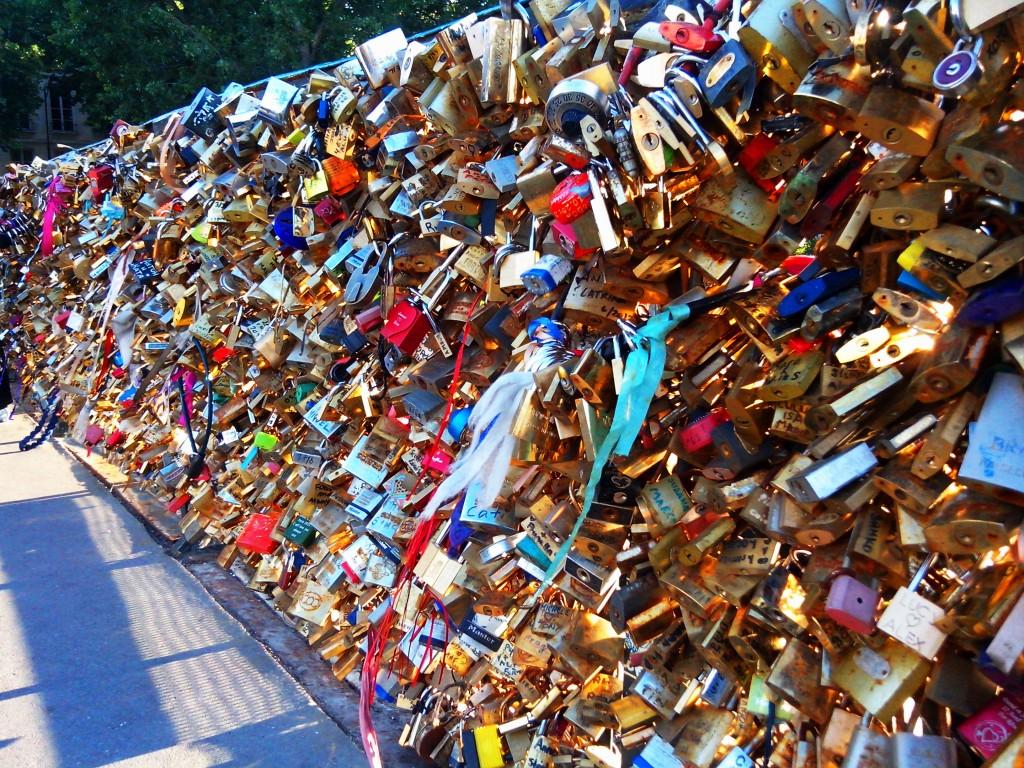 Love Lock on Pont des Arts Bridge in Paris