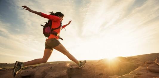 A female day hiking