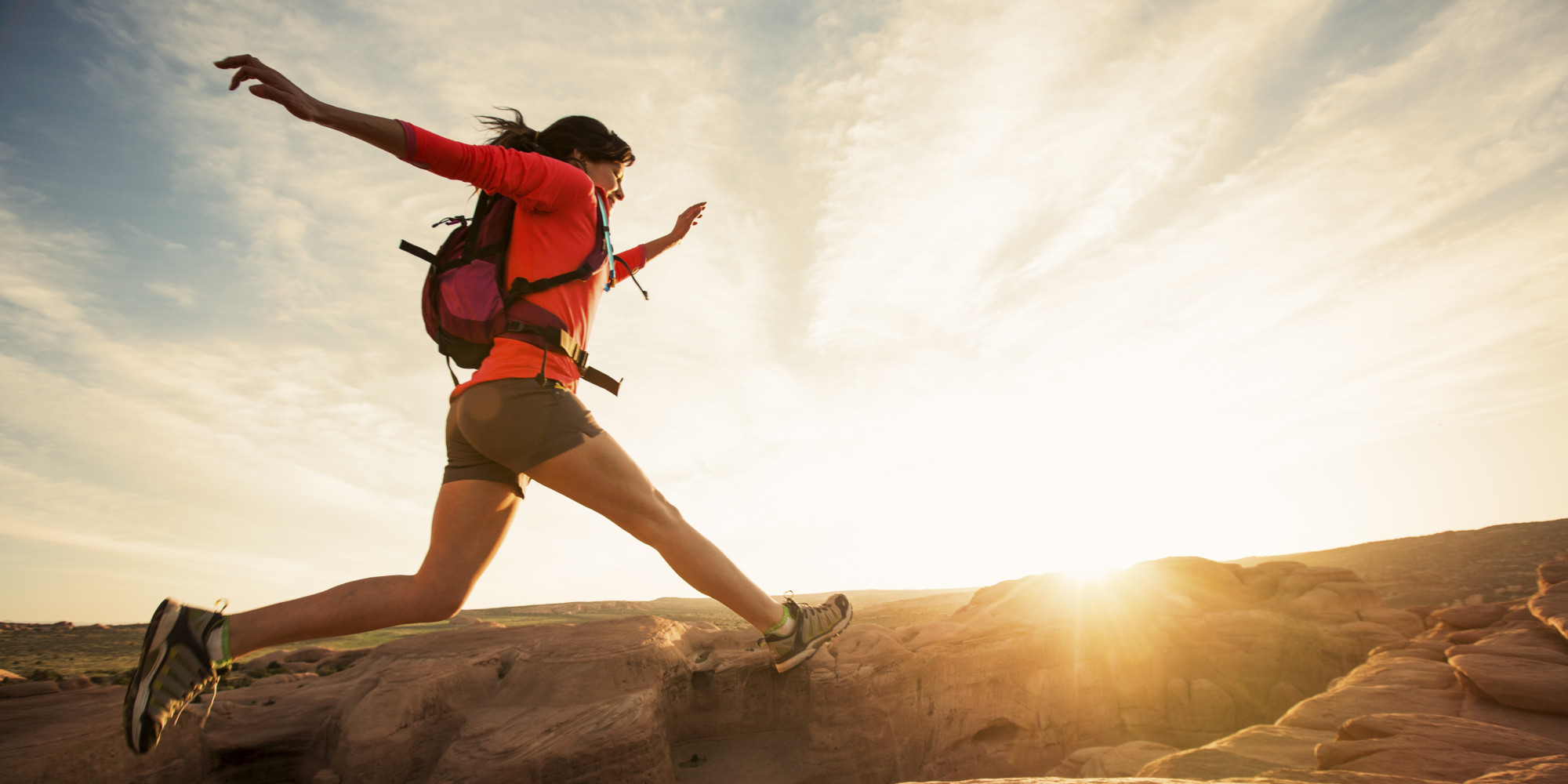 A female day hiking  Once in a lifetime experiences
